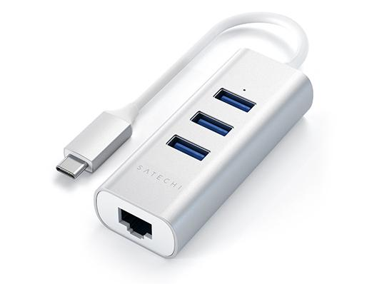 Satechi Alu USB-C Hub 3x USB 3.0 Ports & 1 x Gigabit Ethernet Port